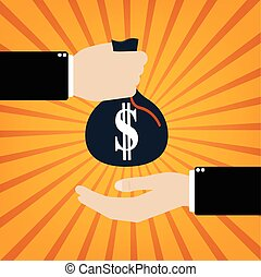 Businessman Taking Bribe to another businessman on orange sunrays background. Vector illustration business concept design.