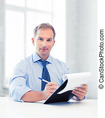 businessman taking employment inteview - picture of handsome...
