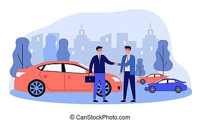 Businessman taking vehicle in car sharing