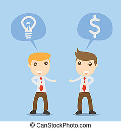 Businessman talk idea and money