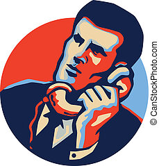 Businessman Talk Telephone Retro - Illustration of a...