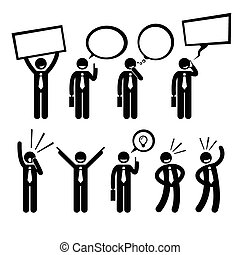 A set of human pictogram reprensenting business businessman poses and action of talking, thinking, shouting, holding placard, talking on phone, telling ideas, and laughing.