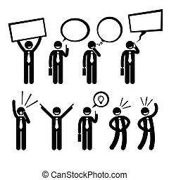 Businessman Talk Think Shout - A set of human pictogram...