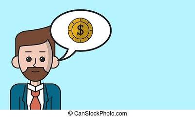 Businessman talking about money