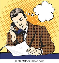 Businessman talking by phone and reading documents. Vector illustration in retro pop art comic style