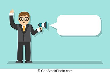 businessman talking in a megaphone