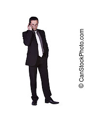 Businessman talking on a cell phone - Isolated businessman...