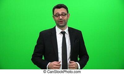 Businessman Talking On Green Screen