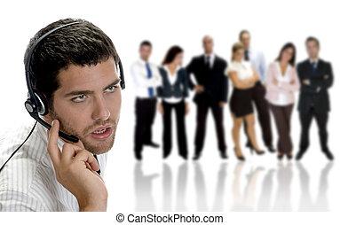 businessman talking on headphone