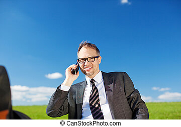 Businessman talking on his mobile