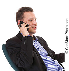 businessman talking on mobile phone isolated