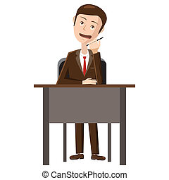 Businessman talking on phone icon, cartoon style