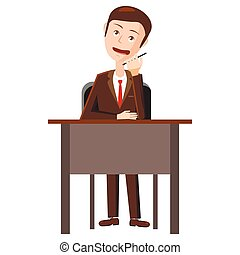Businessman talking on phone icon, cartoon style