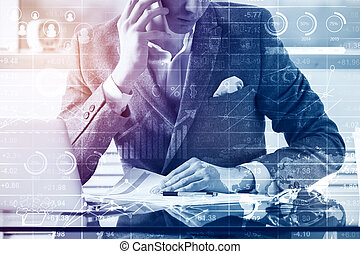 Accounting concept - Businessman talking on the phone and ...