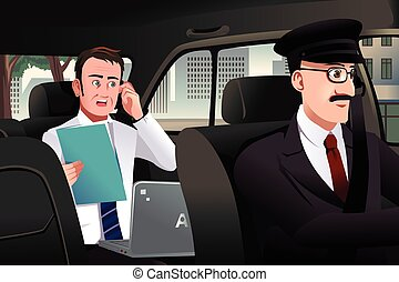 A vector illustration of businessman talking on the phone sitting in a car driven by a chauffeur