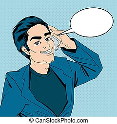 Businessman Talking on the Smart Phone. Pop Art Banner. Vector illustration