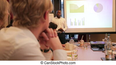Businessman Talking Through his Presentation - Over the...