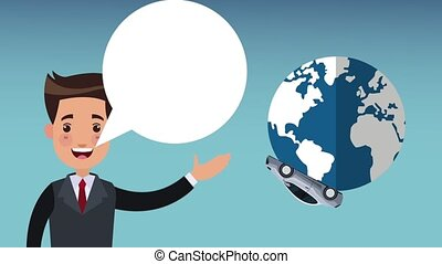 Businessman talking with car around world HD animation