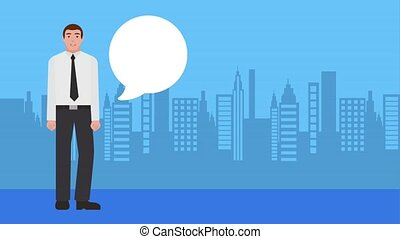businessman talking with city background