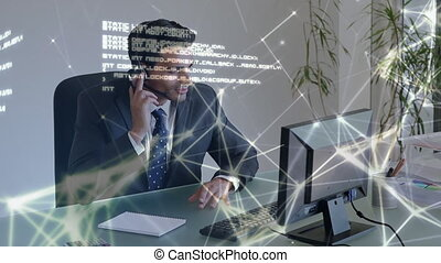 Businessman talking with clients all over the world through the internet