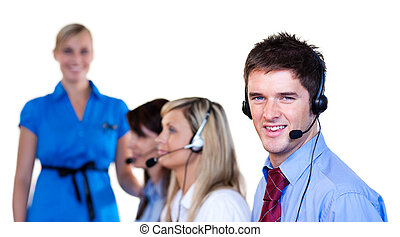 Businessman talking with headset