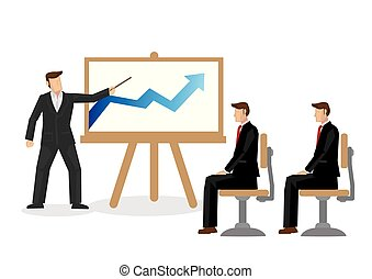 Businessman talking with his coworkers about a rising graph. Concept of corporate growth.