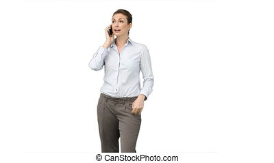 Businessman talking with someone on her mobile