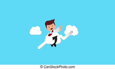 businessman tax related - businessman flying in arrow growth...