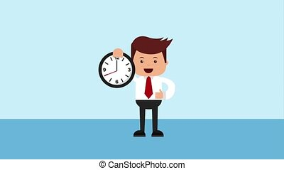 businessman tax related - businessman holding clock time...