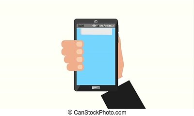 businessman tax related - hand holding smartphone tax...