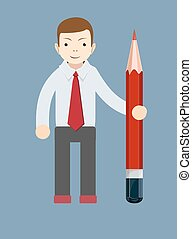 Businessman-Teacher with a pencil to correct and study, vector illustration