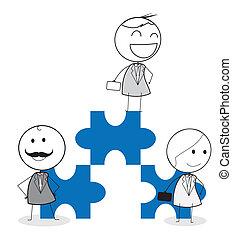 businessman team jigsaw