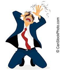 Businessman tearing hair - Vector illustration of a ...