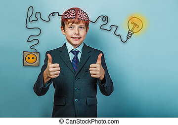 businessman teenage boy showing hand sign yes and smiles charging cord plug wire igniter charge and sketch infographics