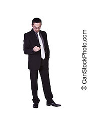 Businessman Texting On His Cell Phone - Isolated businessman...