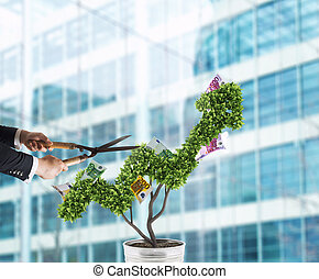 Businessman that cuts and adjusts money tree shaped like an arrow stats. Concept of startup company . 3D Rendering
