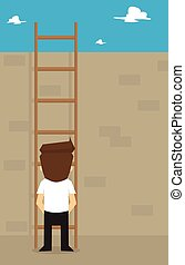 businessman think climbing the ladder across obstacles