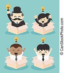 Businessman think outside the box. flat vector illustration. SET