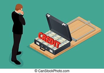 Businessman thinking about credit. Style money isometric. Credit loan trap concept. Mousetrap with Lot of money in a suitcase. Flat 3d isometric business concept.