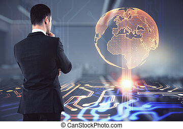 Businessman thinking about global digital transformation, big data concept