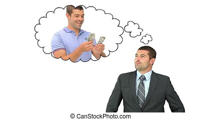 Businessman thinking about money