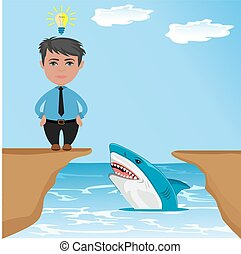 businessman thinking how to jump over gap with shark, vector...