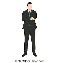 Businessman thinking. Man in dark suit standing a making decision. Vector illustration