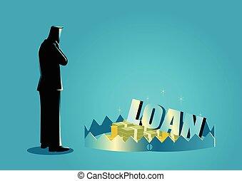 Businessman thinking of taking loans