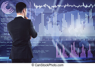 Businessman thinking on analytics data background, brainstorming and analysis concept