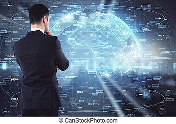Businessman thinking on big data illustration background, brainstorming and analysis concept
