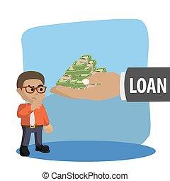 businessman thinking twice before loaning