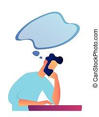 Businessman thinking vector illustration.