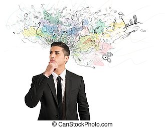 Businessman thinks for new ideas - Concept of innovation and...