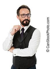 Businessman thoughtful face make decision. Hard business decision. Businessman formal suit mature man isolated white. Thoughtful businessman concept. Businessman bearded thoughtful entrepreneur